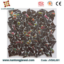 Anti-dust No-slip Color Resistance Iridescent Rainbow Brown Crystal Glass Mosaic Tiles for Pool Wall and Floor Price
