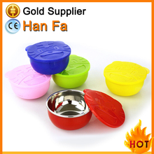 Wholesale colorful silicone stainless steel bowl with lid for baby used