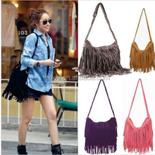 2014 New Fashion One Shoulder Bag + Vintage Tassel Cross Popular Casual Women Handbag Women Messenger Bags