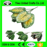 Bunch of 14 Large Artificial Leaves Foliage Flowers Tropical Fake Silk Craft