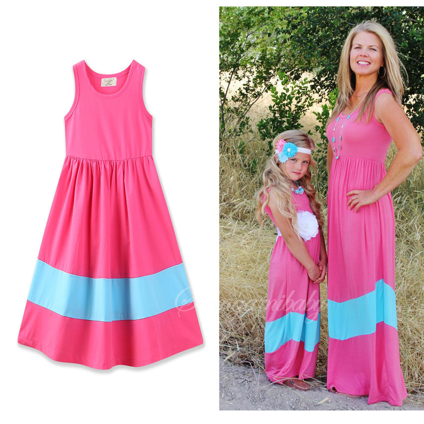 2017 Summer Mother Daughter Dresses Brand Striped Cotton Family Look Fashion Matching Mother Daughter Clothes