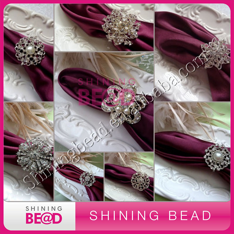 Napkin Rings Silver Bling Rhinestone Diamond Crystal Elegant Wedding Party Napkin Ring