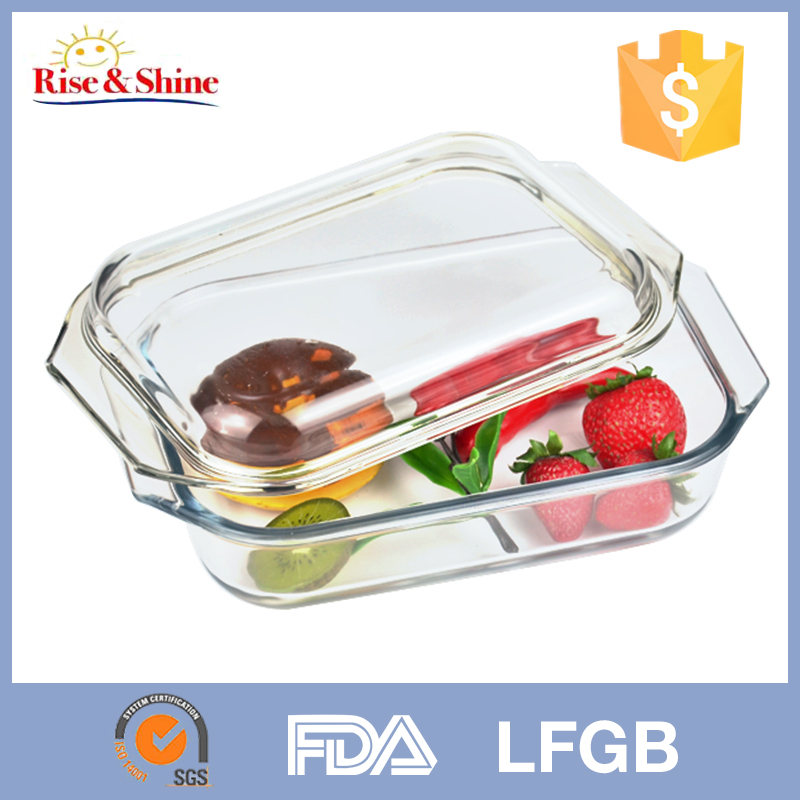 Hot-sale wholesale Eco-friendly Pyrex rectangle clear microwave oven glass baking dish with cover