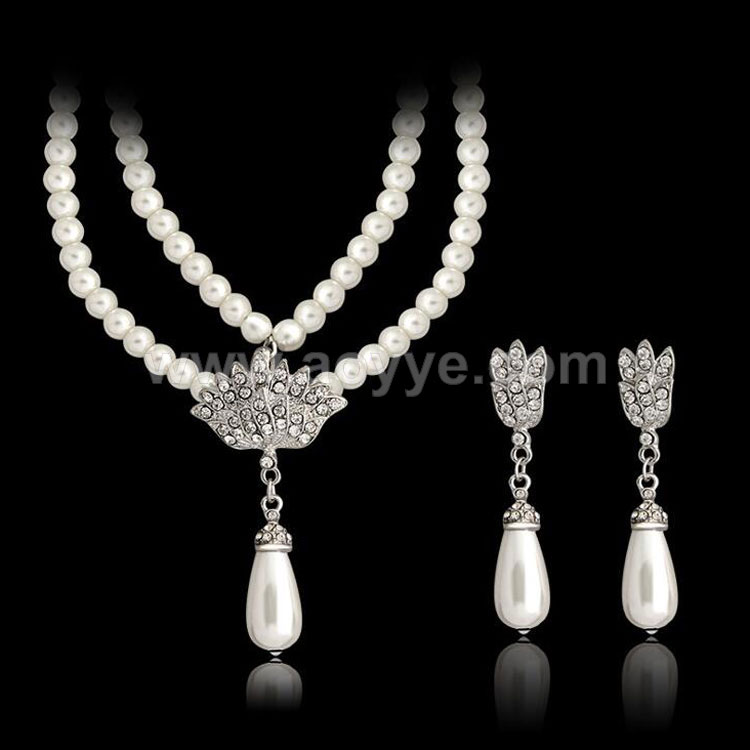 Best quality new model classic bridal wedding accessories double layer pearl jewelry necklace set