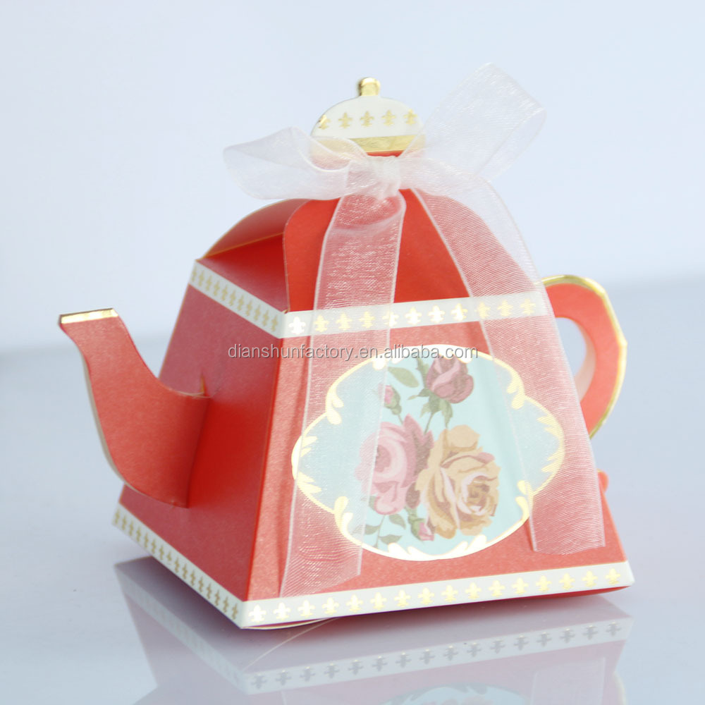 Unique Teapot Design Paper Packing Box Afternoon Tea Party Supplies Wedding Decoration Candy Favor Gift Boxes