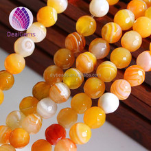 6mm top quality yellow blue green round faceted striped agate beads