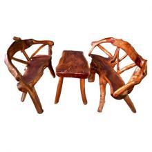 Mahogany wood Root chair of 3 Pcs