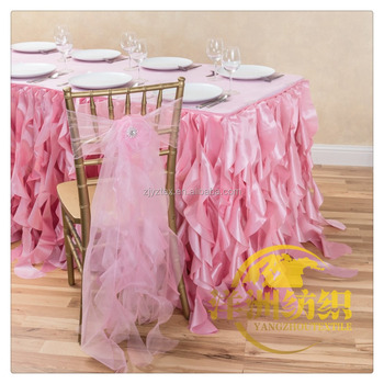 pink organza wedding ruffled curly willow pink chair sash and table cloth