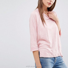 wholesale women apparel plus size 3/4 sleeve linen t shirts round neck pink girls tops