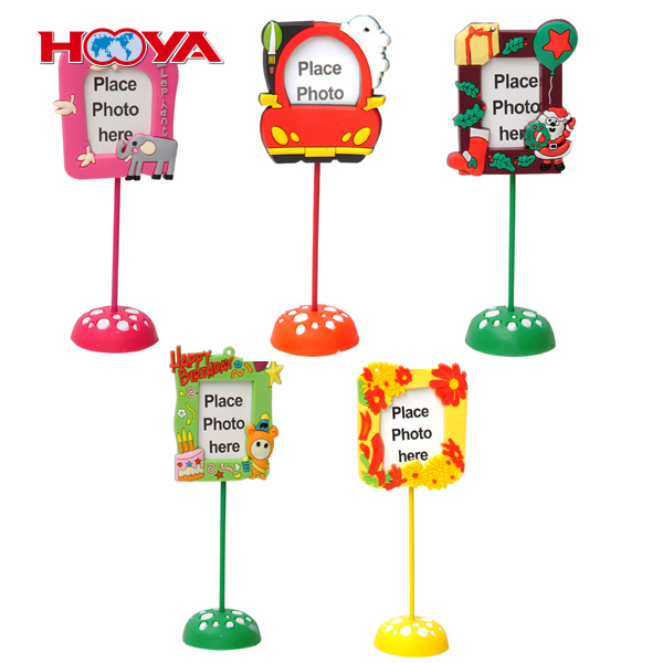 3D plastic soft PVC rubber mini photo frame standing on the table