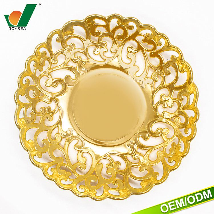 Hot SaleGold customizationAnd Silver Color Hollow-out Fruit Tray wedding table charger plate