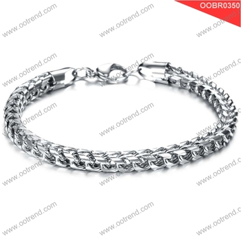 Simple design style men stainless steel chain bracelet with lobster claps