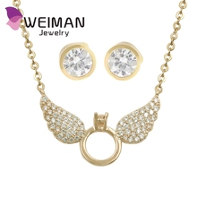 Hot sale high quality wholesale rhinestone angel wing necklace for women