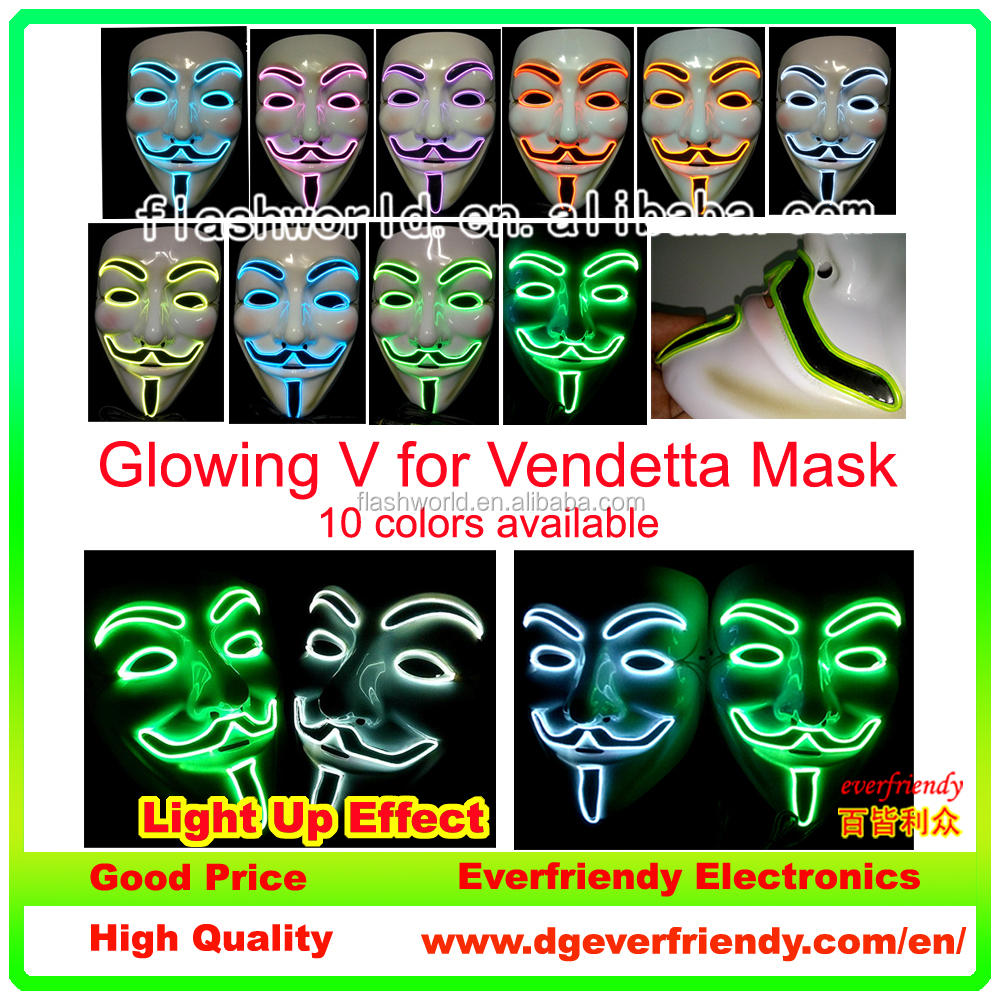 Latest party favor christmas halloween masquerade party cosplay el flashing wire mask V for Vendetta glowing masquerade mask