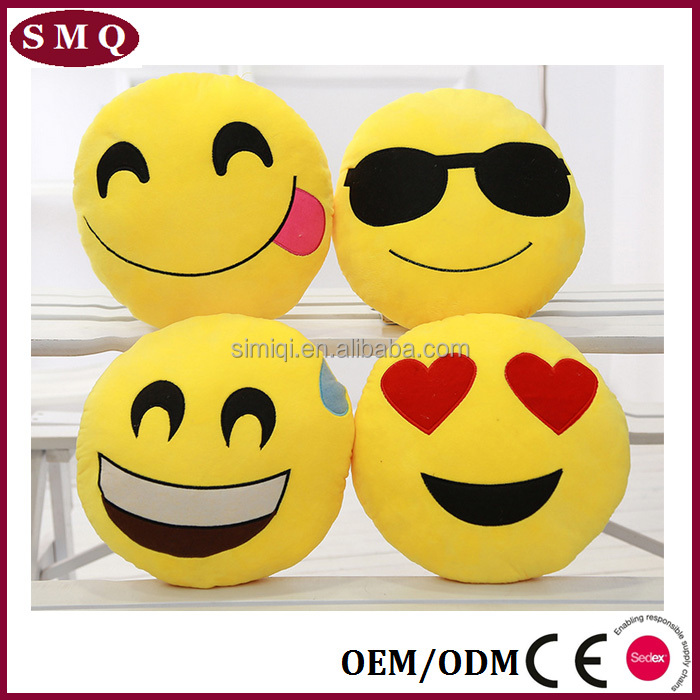 wholesale cushion custom emoji soft plush car sofa seat cushion