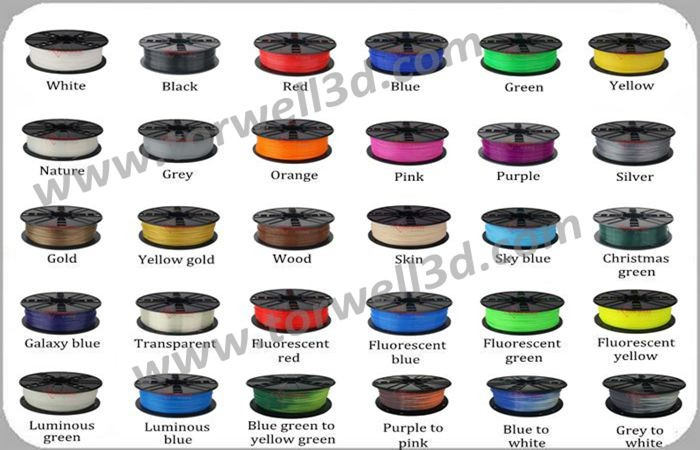 Color change ABS/PLA Filament for 3D printers.(High quality) 30 colors available