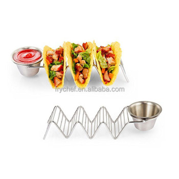 Stainless Steel Taco Rack for Hard shell or Soft shell (2 pack + Sauce Dipping Cup) F0199