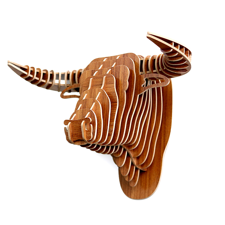 2018 new design carved 3d wood animal head wall decoration