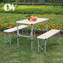 Professional factory one piece used foldable aluminum outdoor picnic portable folding table and chair set