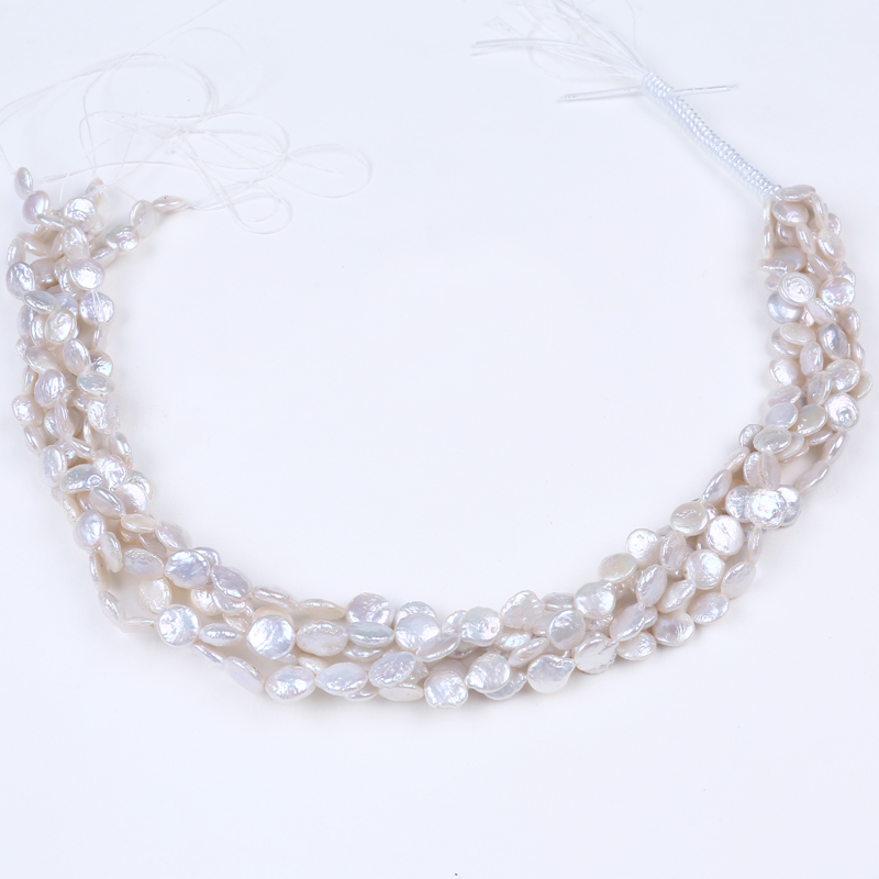 9-10mm wholesale AA keshi coin shape loose pearl strand 16""