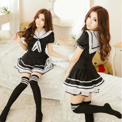Japanese Sexy Lingerie School Girl Sailor Costume Cosplay Uniform Dress With Stockings BWG13347