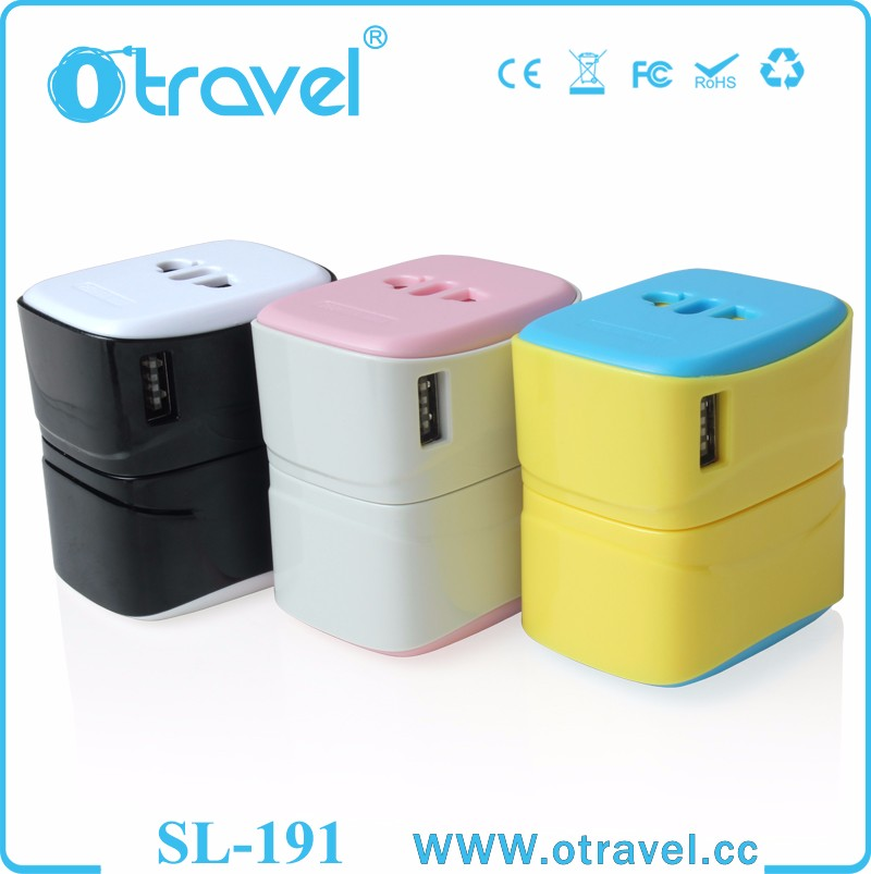 5V Outdoor Smallest Universal <strong>travel</strong> electric adapter with USB port for Samsung Iphone cell phone