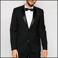 Stylish 2 Piece Coat Pant Set 100% Wool Fabric Black Coat Pant Mens Suit
