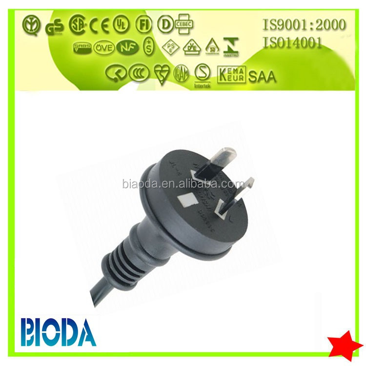 SAA approval 7.5A 250V 2 Pin Ac Power Cord Plug