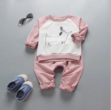 zm41407a wholesale cute hoodies children clothes set cartoon baby kids shirt+pants 2pcs clothing set