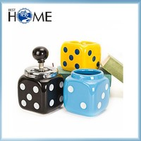 Decorative Dice Shape Covered Ceramic Cigar Ashtray with Lid