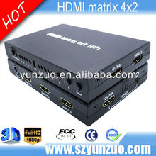 HDMI 4x2 Matrix Amplifier Switch Splitter 4 Port 1080p 4 Input & 2 Output Remote