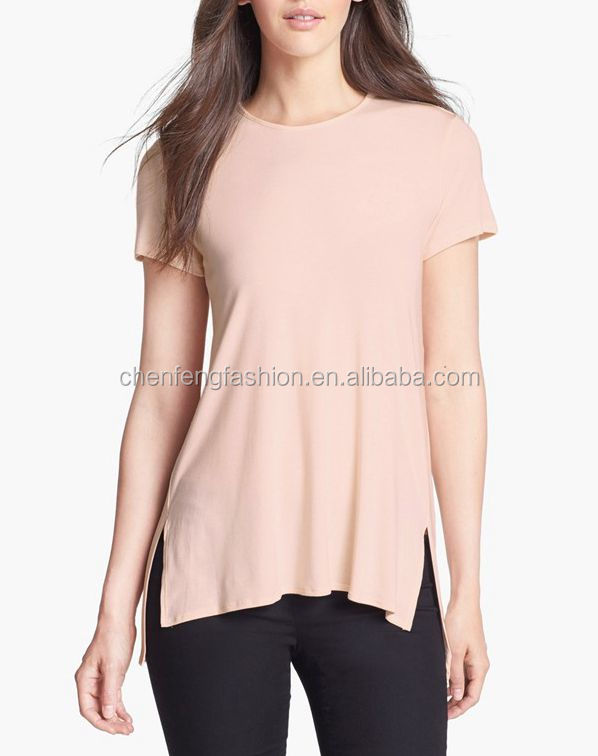 CHEFON Back box pleat vented high low hem popular basic fashion casual tee