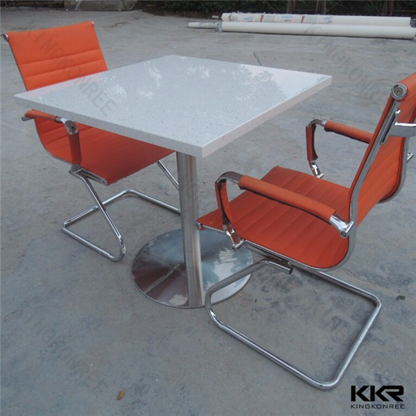 Pure white solid surface 4 people dinning table