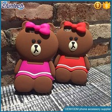 High quality phone case promotional gift cute bear silicone mobile case for iphone 6s plus