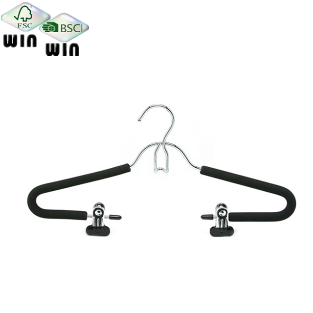 Custom design fashion Garment hanger Foam metal hangers with Pant clips