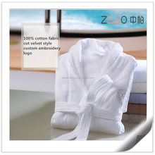 100% Cotton Super Soft Cut Velvet Style White Bathrobes for Hotel or Spa Used