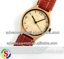 wholesale unisex wooden wristwatch, hot sale wooden bamboo watch / colorful watches wooden / genuine leather watch quartz