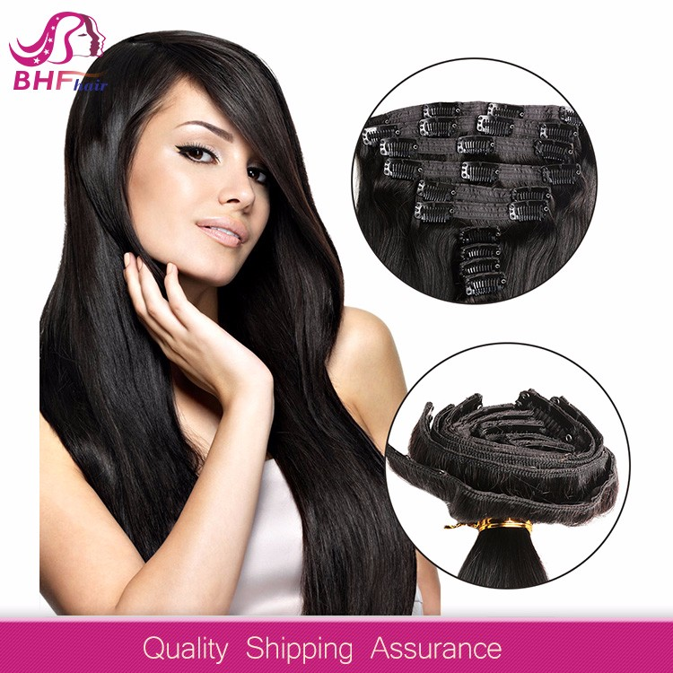 Top Clips in 10 pcs Natural Black 100 Virgin Brazilian Human Hair Clip In Hair Extension Full Head For Black/White Woman