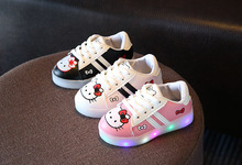 Children led Shoes 2017New Hello Kitty Rhinestone Led Shoes Girls Princess Cute Shoes With Light