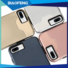 For Iphone 7 case tpu pc 2 in 1 hybrid combo mobile phone back cover case with bracket and credit card slot