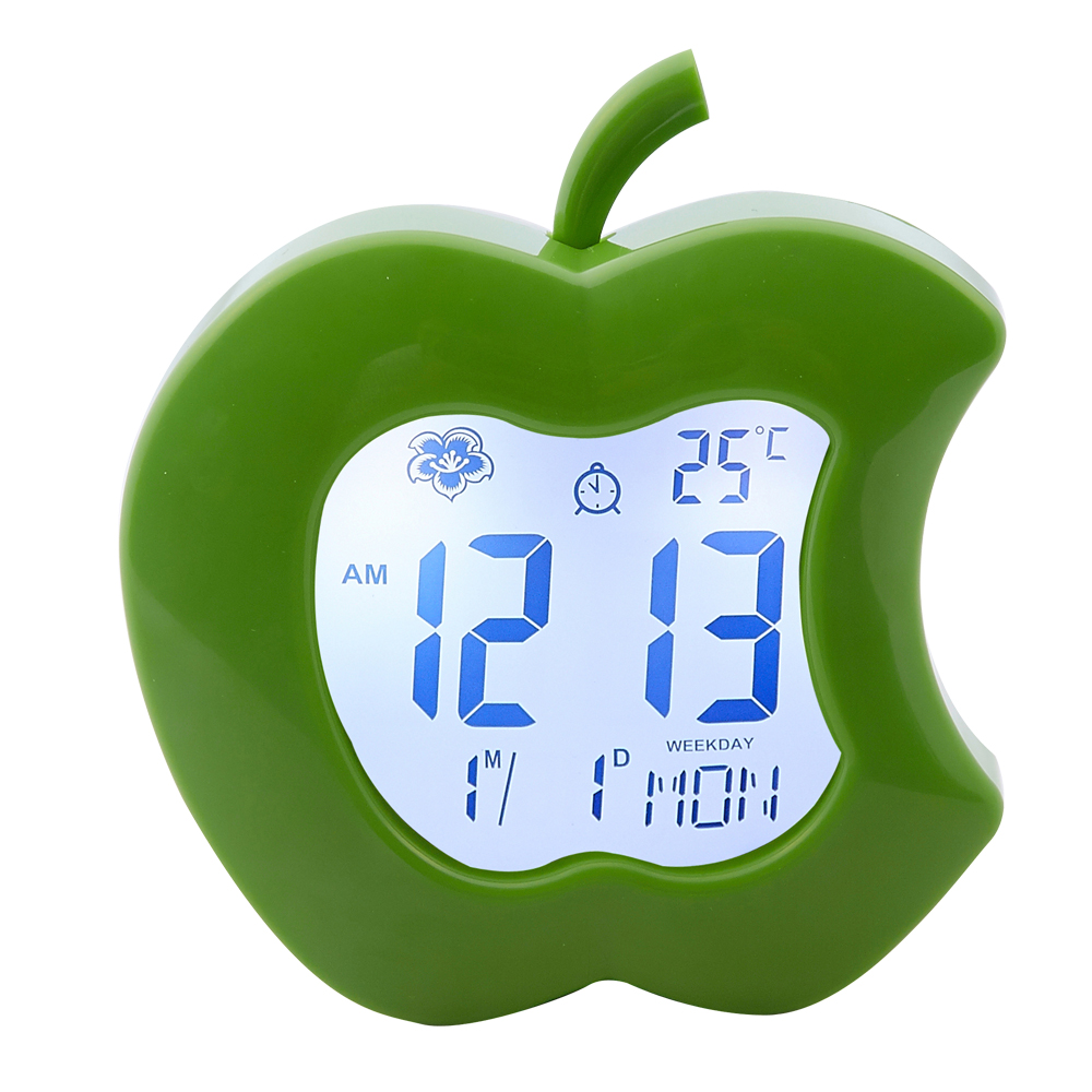 Apple Shaped Cartoon Table Alarm Clocks for Promotion Gifts