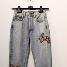 2018 hot sale fashion women female embroidered causal jeans