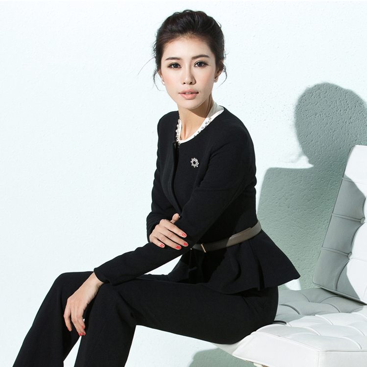China Wholesales O Collar Belt Women Fashion Pictures of Ladies Suits Designs