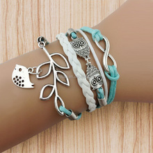 2014 Owls & Lucky Branch/Leaf and Lovely Bird Charm Wax Cords Leather Bracelet