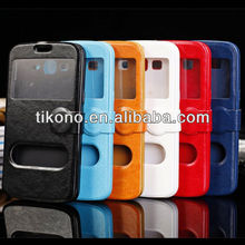 high qualtiy leather case for samsung galaxy grand 2 with Round button