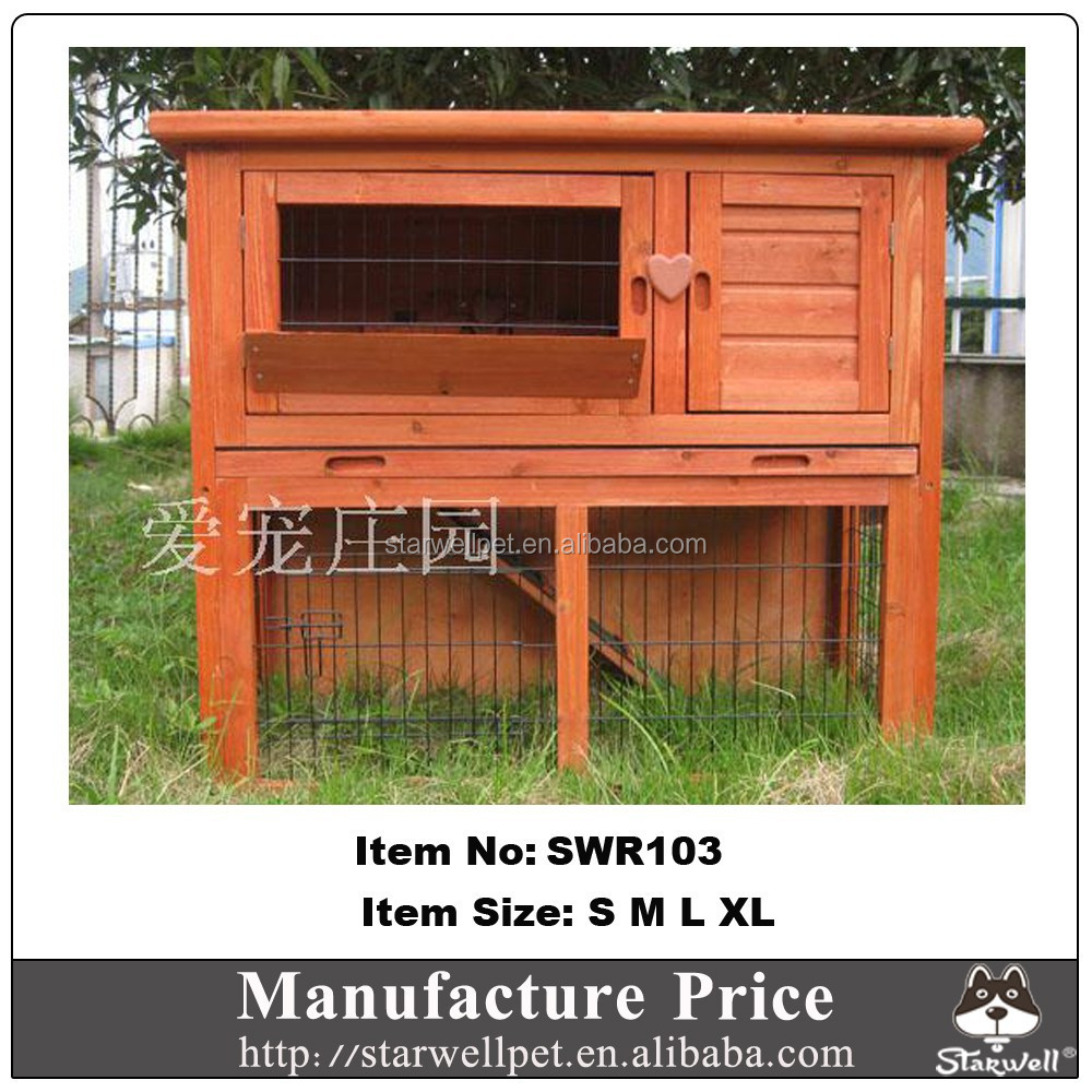 Wooden custom rabbit hutch with metal mesh run