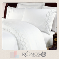 New designs embroidery home textile 400tc cotton bed sheets