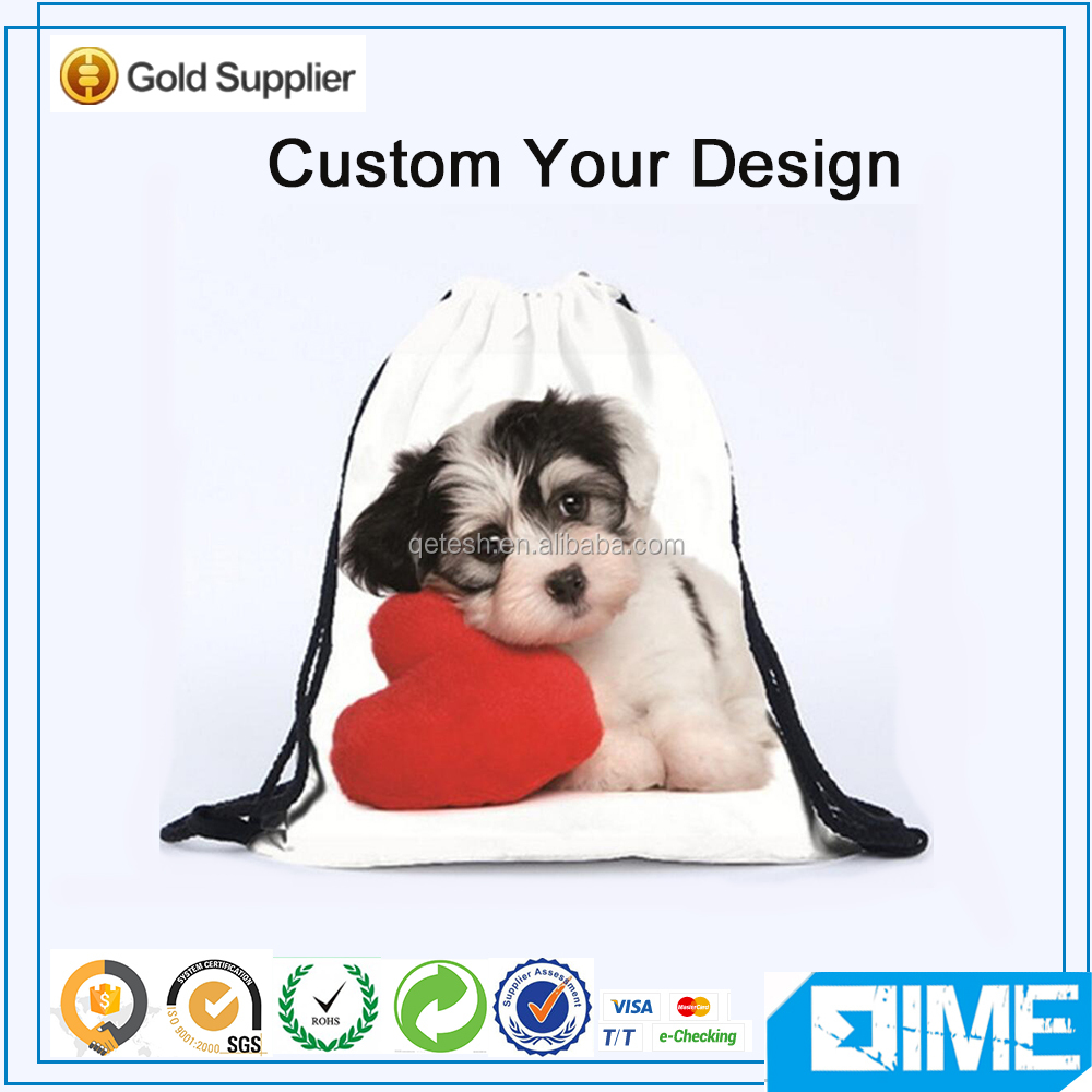 Dog Love Small Clear Polyester Backpack Drawstring Bags