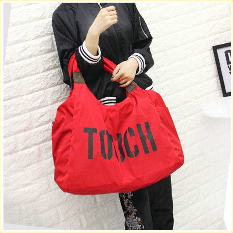 2017 new product promotional nylon fold polyester shopping women handbags beach plain custom blank tote bags with custom LOGO