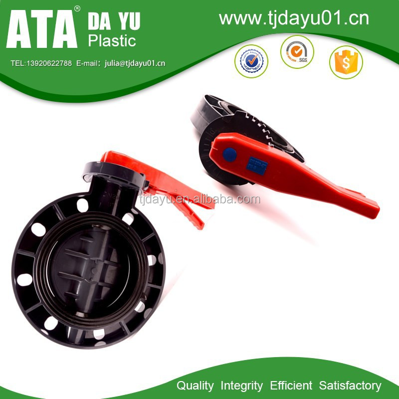 handle color can be customized pvc body & disc butterfly valve drive by flat head ISO5211